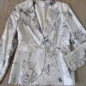 Alberto Makali Silver Gray Shimmer Linen Blazer 8